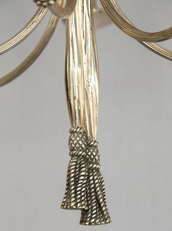 European Bronze Six-Arm Chandelier For Sale