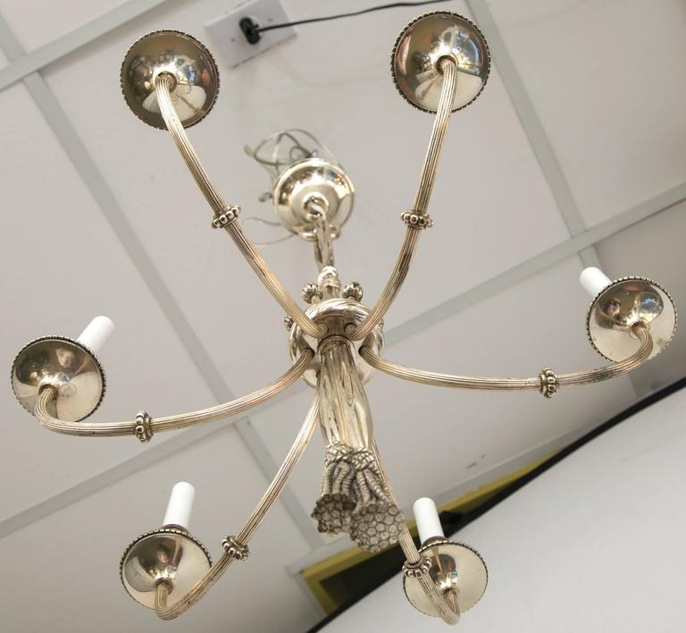 Bronze Six-Arm Chandelier For Sale 2