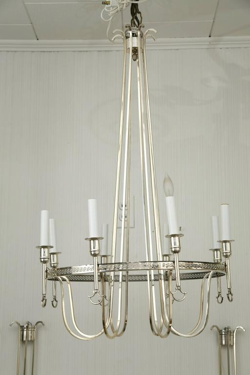 French Silver Plated Neoclassic Chandelier and Pair of Wall Sconces For Sale