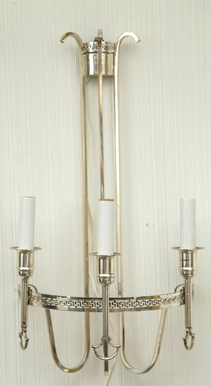 Silver Plated Neoclassic Chandelier and Pair of Wall Sconces In Good Condition For Sale In Mt Kisco, NY