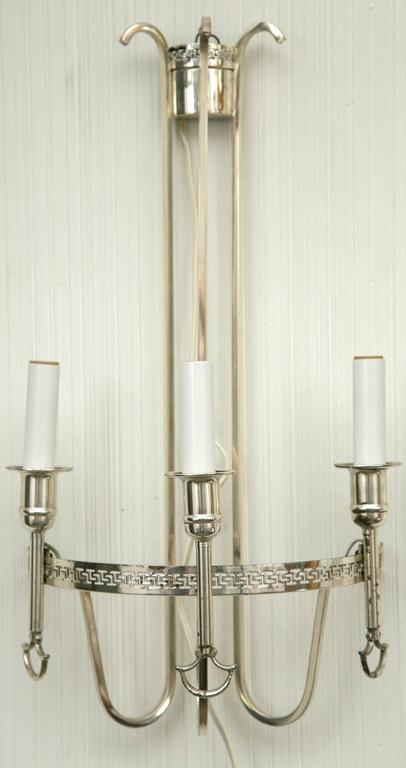 20th Century Silver Plated Neoclassic Chandelier and Pair of Wall Sconces For Sale
