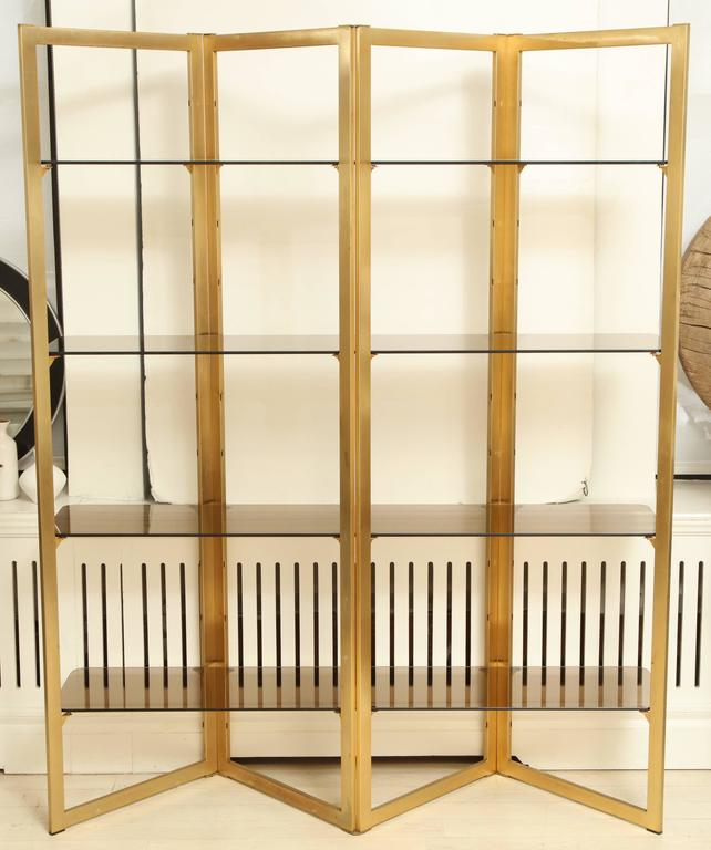 Mid century folded brass tag re with four glass shelves - Etagere zig zag ...