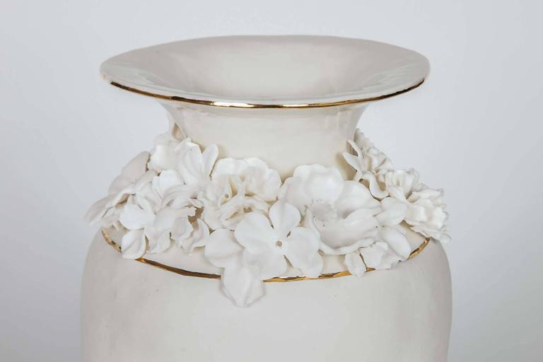 Modern Forget Me Not Footed Vases in Porcelain & gold, Floral Artworks by Amy Hughes For Sale