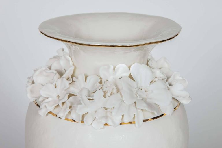 Hand-Crafted Forget Me Not Footed Vases in Porcelain & gold, Floral Artworks by Amy Hughes For Sale