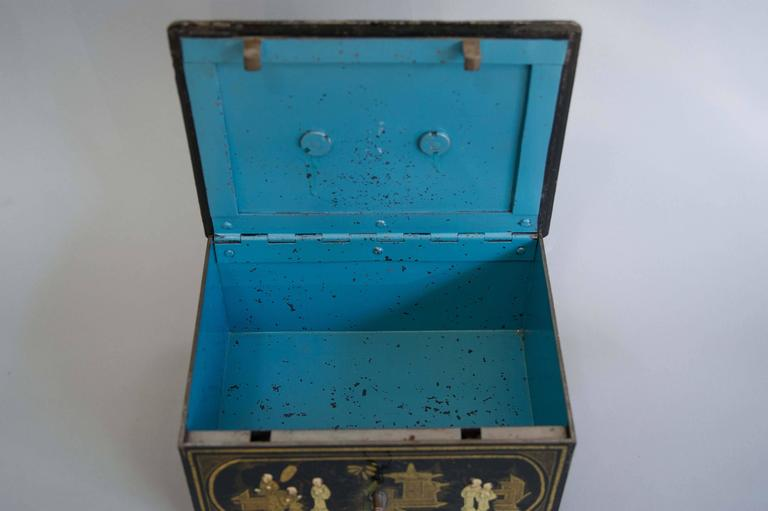 French  19th Century Black and Gold Chinoiserie Strong Box For Sale