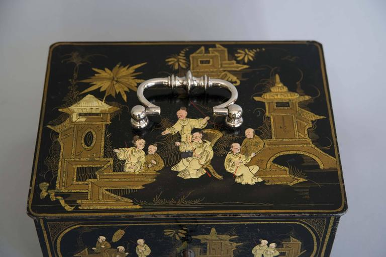 19th Century Black and Gold Chinoiserie Strong Box In Excellent Condition For Sale In London, GB