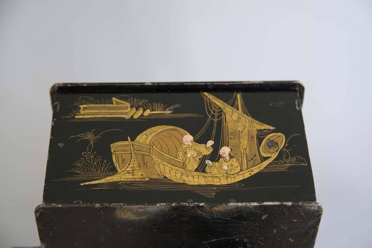 Metal  19th Century Black and Gold Chinoiserie Strong Box For Sale