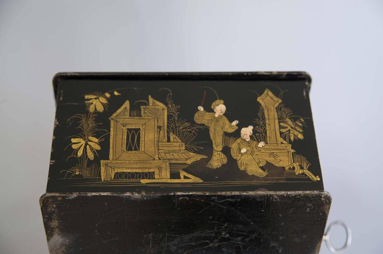 19th Century Black and Gold Chinoiserie Strong Box 6