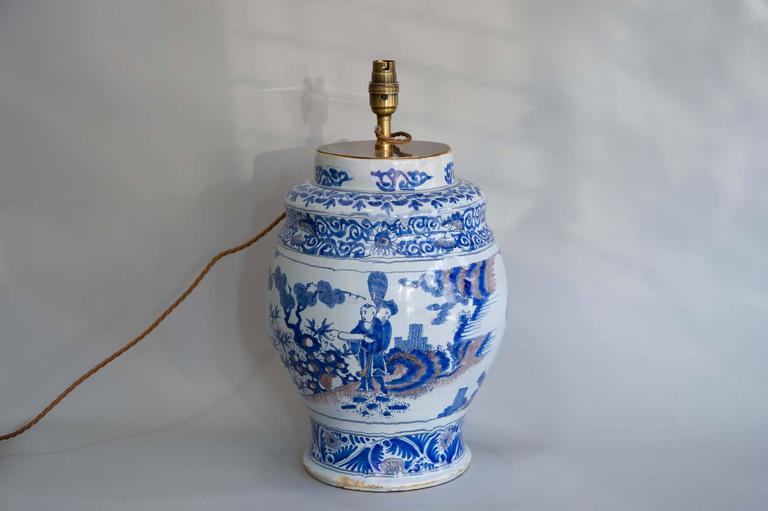 Chinoiserie 17th Century Lamped Delft Blue & White Vase with Manganese Highlights For Sale