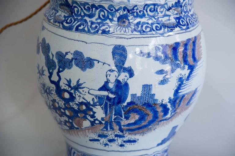Dutch 17th Century Lamped Delft Blue & White Vase with Manganese Highlights For Sale
