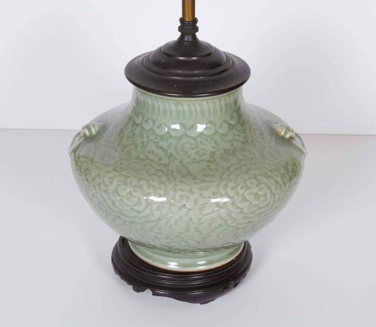 Chinese Celadon Vase Fitted as a Lamp 2