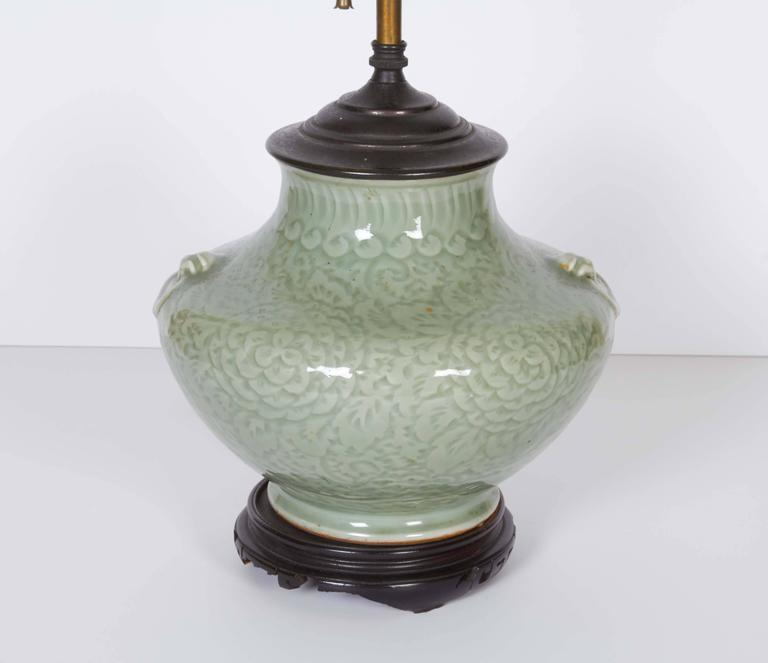 Chinese Celadon Vase Fitted as a Lamp 5