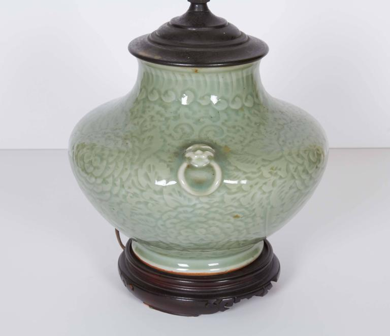 Chinese Celadon Vase Fitted as a Lamp 7