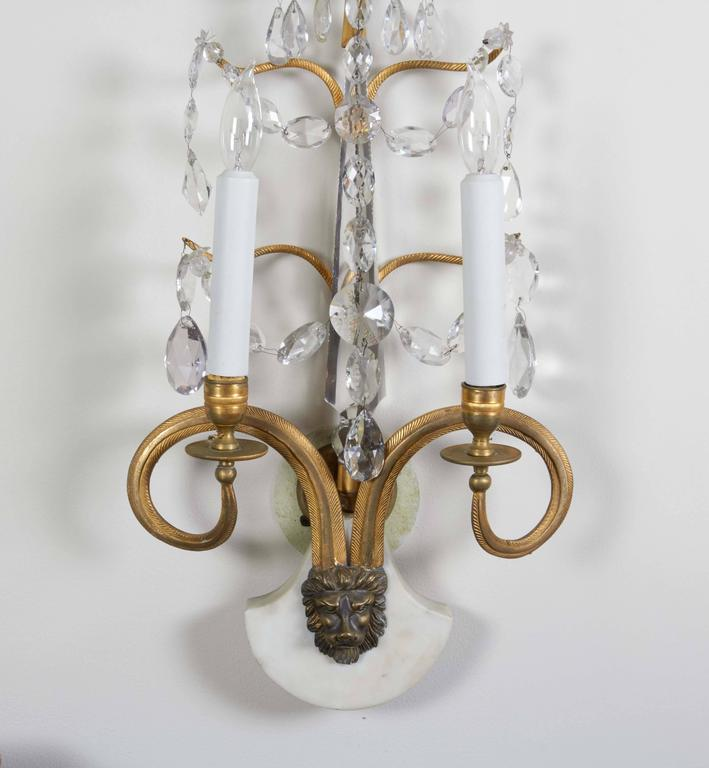 Set of Four Important Baltic Neoclassical Ormolu and Crystal Beaded Sconces 3