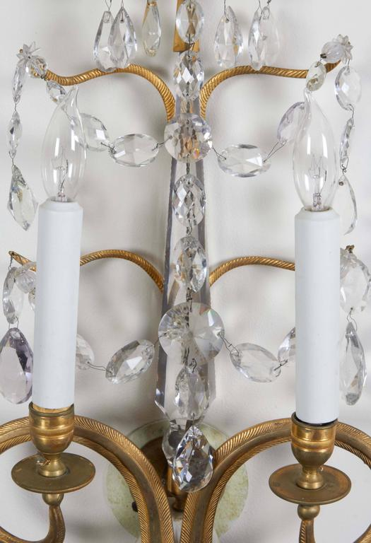 Set of Four Important Baltic Neoclassical Ormolu and Crystal Beaded Sconces 4