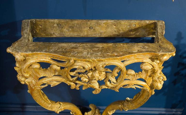 Rococo Late 18th Century Giltwood Console Table with Marble Top For Sale
