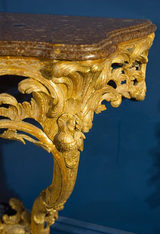 Late 18th Century Giltwood Console Table with Marble Top In Excellent Condition For Sale In London, GB