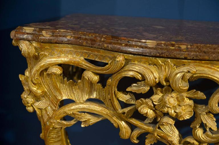 Late 18th Century Giltwood Console Table with Marble Top For Sale 4