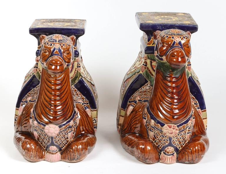 Peachy Pair Of Camels Ceramic Garden Seats Or Side Tables Machost Co Dining Chair Design Ideas Machostcouk
