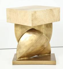 Parchment Table with Bronze Base