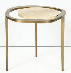 Parchment Side Table with Bronze Base