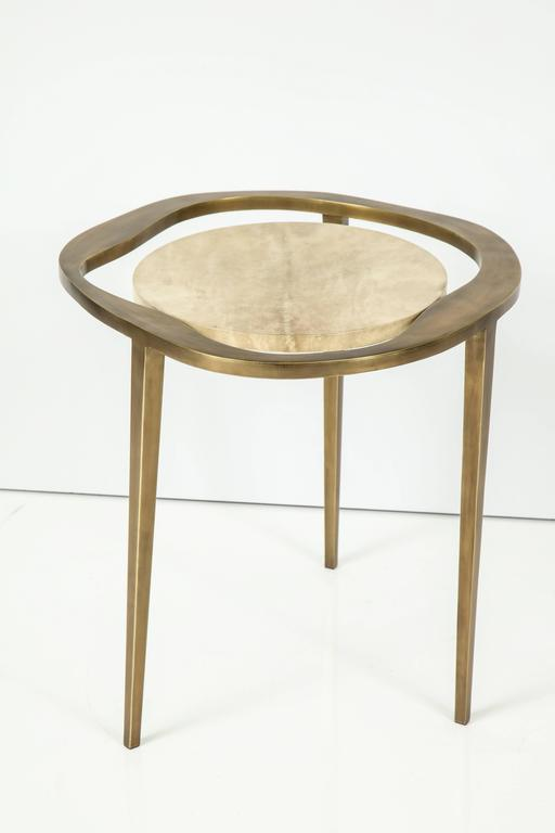 Parchment Side Table with Bronze Base 2