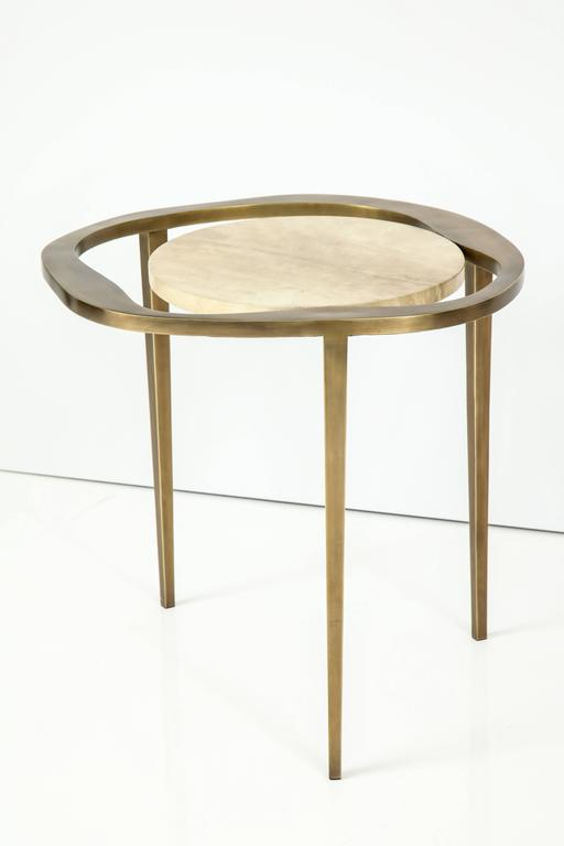 Parchment Side Table with Bronze Base 3