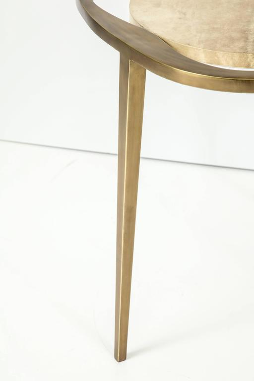 Parchment Side Table with Bronze Base 4