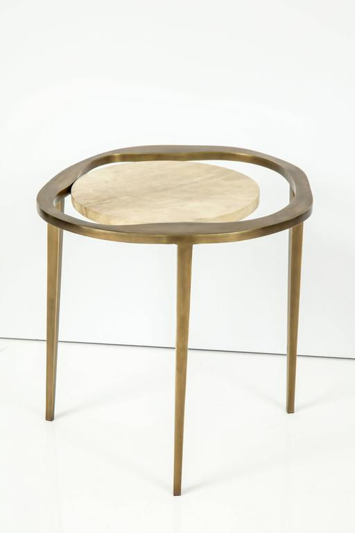 Parchment Side Table with Bronze Base 5
