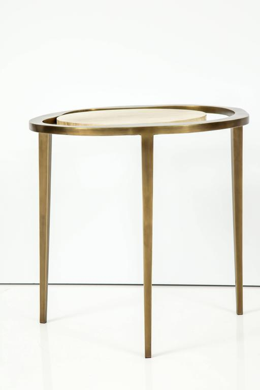 Parchment Side Table with Bronze Base 6