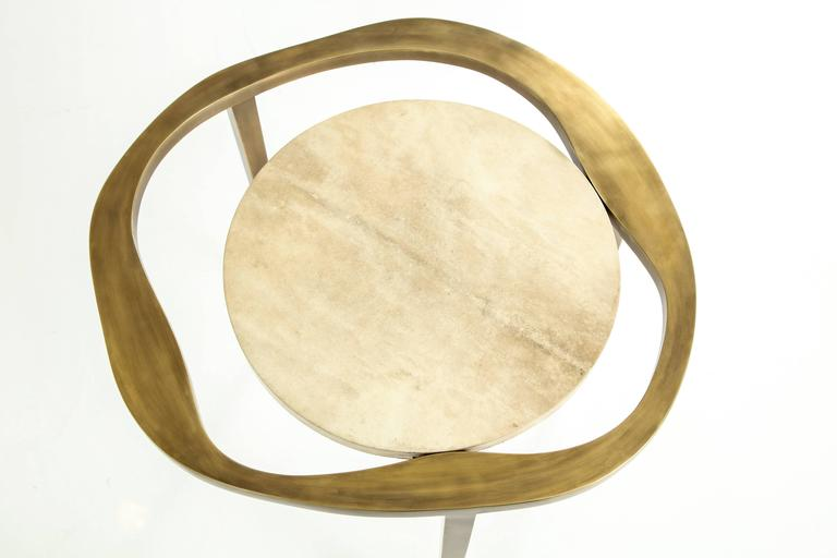 Parchment Side Table with Bronze Base 7