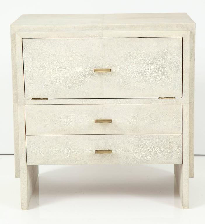Pair of Shagreen side tables or nightstands with two drawers and the top opens up.
