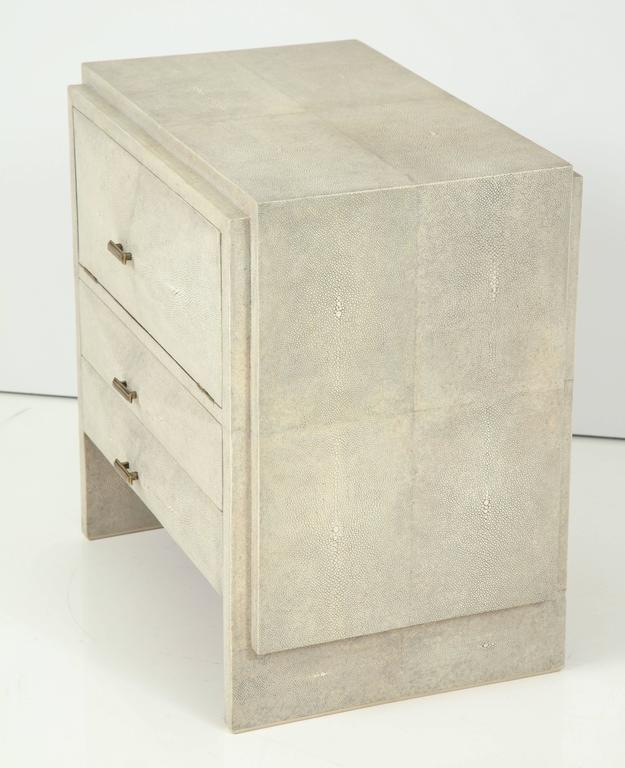 Contemporary Shagreen Side Tables or Nightstands, France For Sale