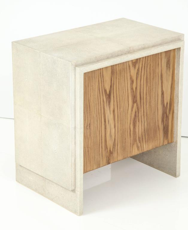 Shagreen Side Tables or Nightstands, France, Cream Colored Shagreen For Sale 2