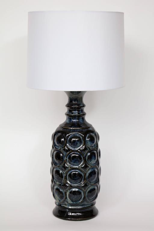 Mid-Century Modern West German Midnight Blue Ceramic TOTEM Lamps For Sale