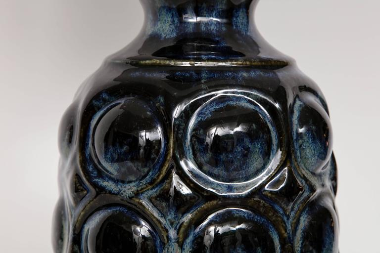 West German Midnight Blue Ceramic TOTEM Lamps For Sale 1