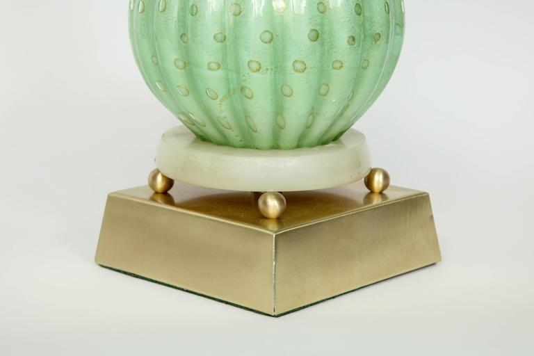 Brass Barovier Pale Green Murano Glass Lamps For Sale