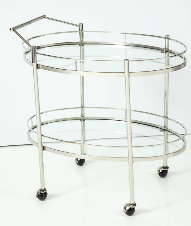 Art Deco Polished Nickel Bar Cart 2