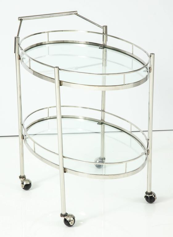 Art Deco Polished Nickel Bar Cart 5