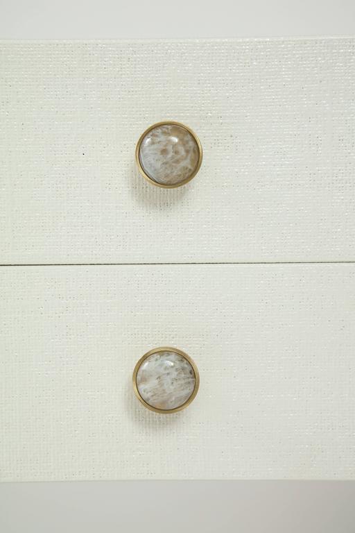 Modern Custom Springer Style Lacquered Linen Nightstands For Sale