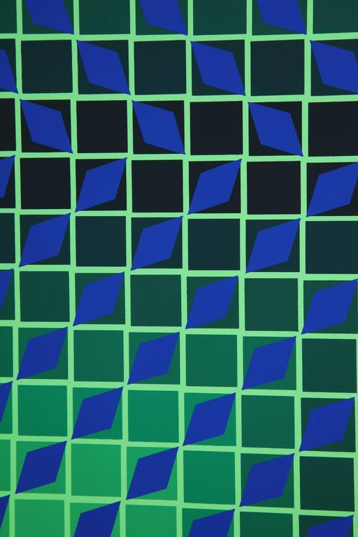 Victor Vasarely Op Art Framed Serigraph In Excellent Condition For Sale In New York, NY