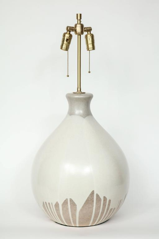 Italian Tan and Bone Drip Glaze Ceramic Lamps 6