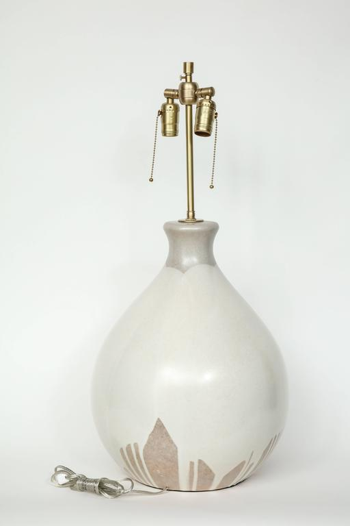 Italian Tan and Bone Drip Glaze Ceramic Lamps 8