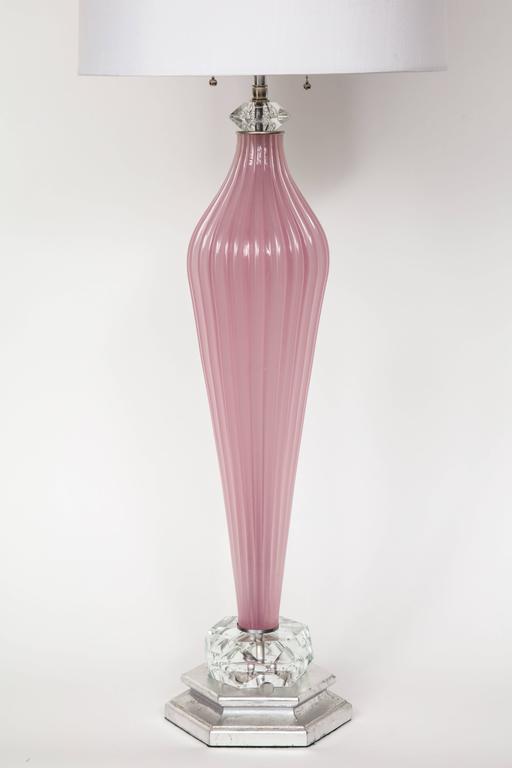 Italian Seguso Orchid Murano Glass Lamps For Sale