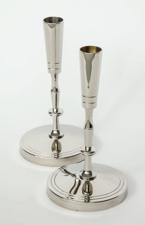 Mid-Century Modern Tommi Parzinger Polished Nickel Candlesticks For Sale
