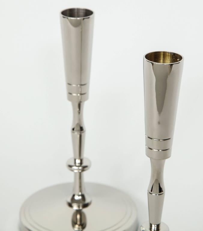 Tommi Parzinger Polished Nickel Candlesticks In Excellent Condition For Sale In New York, NY