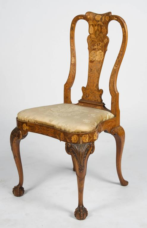 Walnut Fine Set of Four 18th Century Dutch Marquetry Side Chairs For Sale