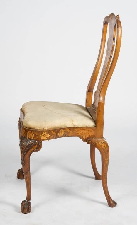 Fine Set of Four 18th Century Dutch Marquetry Side Chairs For Sale 1