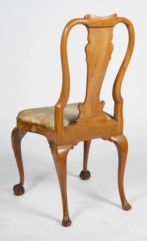 Fine Set of Four 18th Century Dutch Marquetry Side Chairs For Sale 2