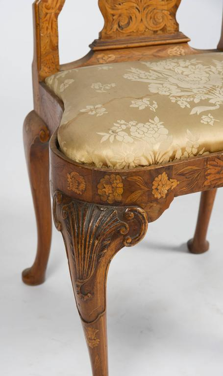 Fine Set of Four 18th Century Dutch Marquetry Side Chairs For Sale 3